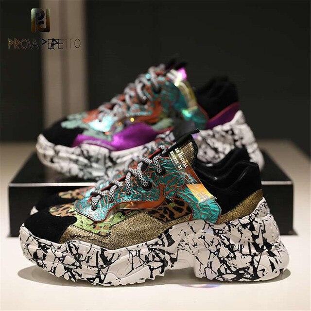 Prova Perfetto 2019 Sneakers Mulheres Trendy Chunky Pai Cadarços de sapatos Sapatos de Plataforma Nova Camuflagem Correspondência de Cores Das Sapatilhas Chaussures
