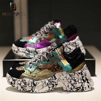 Prova Perfetto 2019 zapatillas de deporte para mujer de moda gruesas de papá zapatos de plataforma con cordones nuevos zapatillas de camuflaje a juego