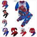 2016 Muchachos de la muchacha Ropa Conjuntos Niños estilo superman Pijamas Del Bebé Súper Héroe spiderman Pijamas Pijamas de Los Niños Pijamas Nightwea