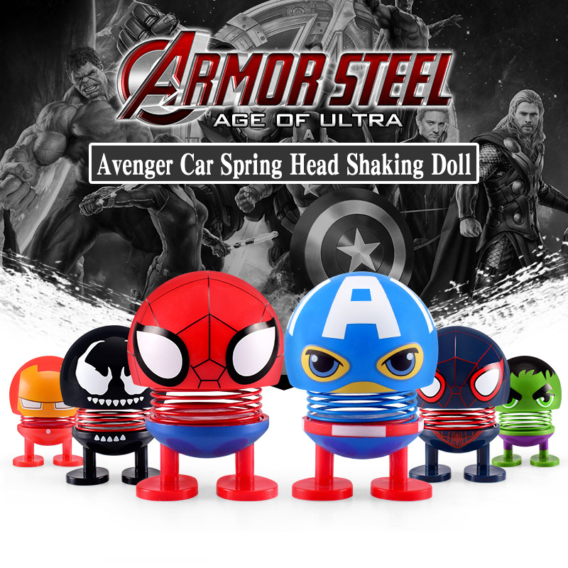 Cartoon Avenger marvel Car Spring Head Shaking Doll car accessories interior decoration Automotive interior decorations ornamen in Ornaments from Automobiles Motorcycles