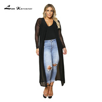 Lan Karswear Beach Cape xxxl Long cardigan Solid Full Pearl Chiffon Solid Color Perspective Large Size Clothes W