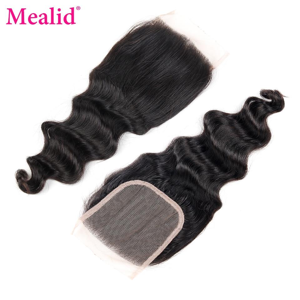 [Mealid] Малайзии волосы распущены волна Связки 3 Связки с закрытием Non-Реми природных Цвет человеческих волос Ткань с закрытия свободной части