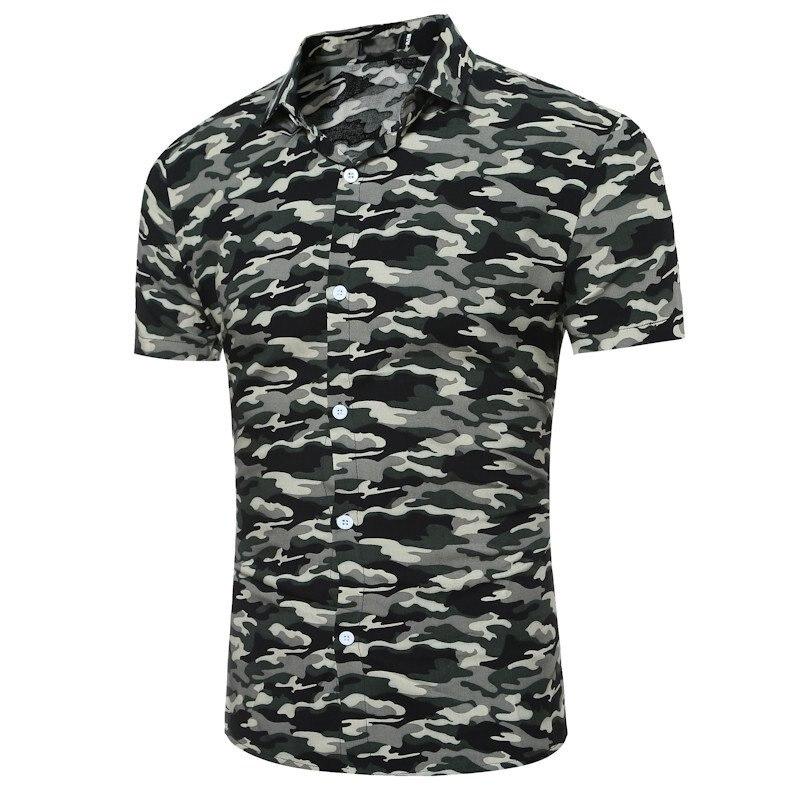 Mens Rayé Camouflage Casual Chemise Tactique Armée Camo Combat Top 2018 D'été Slim Fit Chemises Hommes Manches Courtes Revers Top