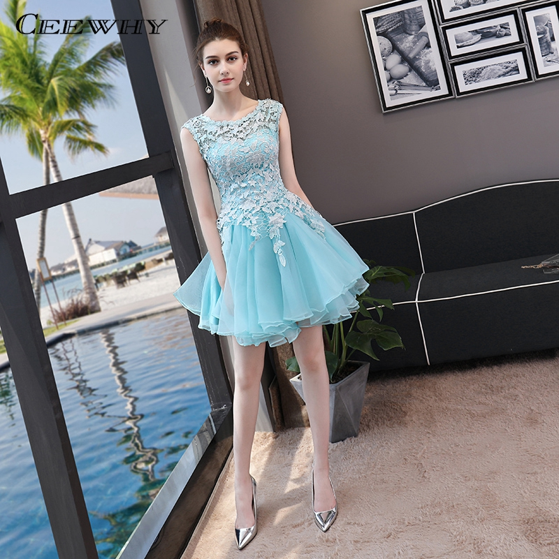 CEEWHY Light Blue Short Prom Party Gown Formal   Dress   Elegant Lace   Cocktail     Dresses   Vestidos de Coctel Sukienka Koktajlowa