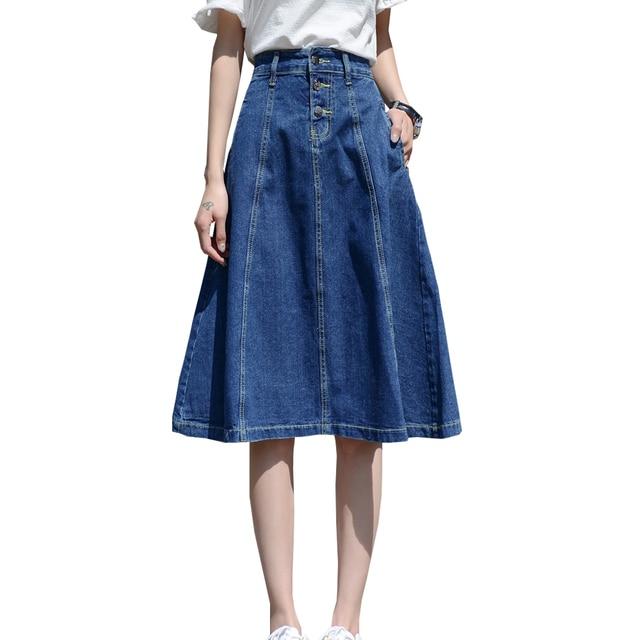 20821126f02 2018 High Waist Women Denim Skirt Midi Oversize Women A-Line Skirt Plus Size  4XL 7XL Women Midi Skirts Big Size Faldas Saias