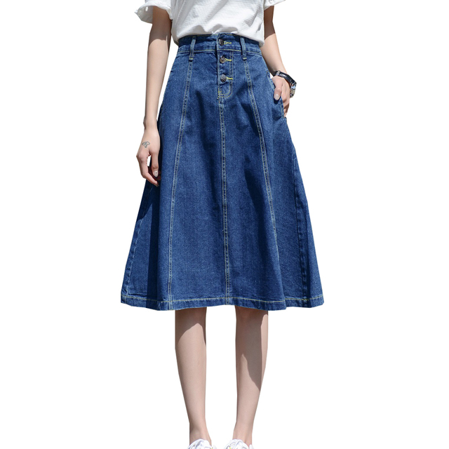9095fe68224b US $21.99 10% OFF|2018 hohe Taille Frauen Denim Rock Midi Oversize Frauen A  linie Rock Plus Größe 4XL 7XL Frauen Midi Röcke Big Size Faldas Saias ...