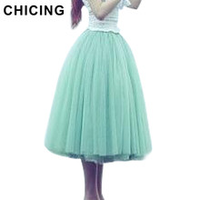 CHICING 2017 Vintage 5 Layers Tutu Princess Skirt Pleated Mesh Tulle Skirts Ball Gown High Waist Women Saia jupe femme B1480001