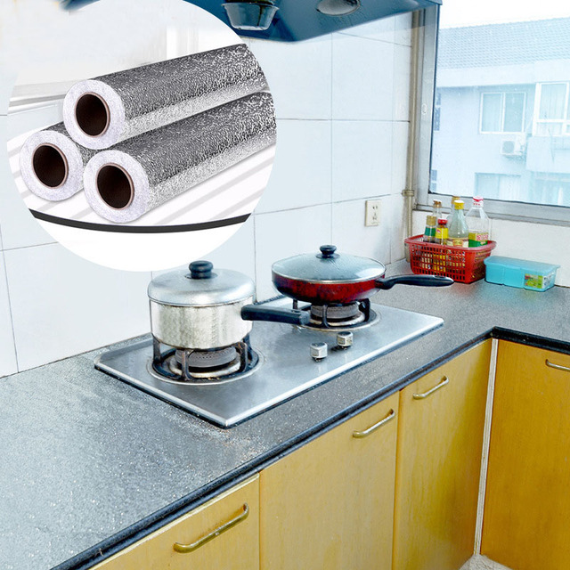 Kitchen Wall Stove Aluminum Foil Oil-proof Stickers Anti-fouling High-temperature Self-adhesive Croppable Wallpaper Wall Sticker 1