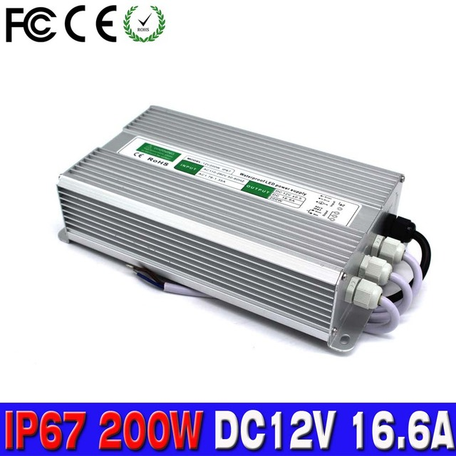 power supply dc 12v 16 6v 200w ip67 waterproof electronic led driver