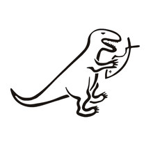 15 cm X 10.2 cm Auto Styling Atheïst Decal Sticker Dinosaurus Eten Vis JDM Auto Sticker Waterdicht Auto Accessoires(China)