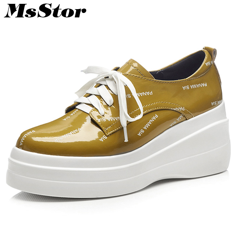 MsStor Natural Leather Round Toe Women Flats Fashion Ladies Flat Casual Shoes 2018 New Cross Tied Platform Loafers Women Shoes коюз топаз кольцо т902015733