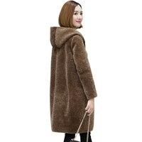 Real Fur Coat Sheep Shearing Fur Coat Women Fur Collor Long Wool Jacket 2018 Winter Coat Women Hooded Tops Plus Size ZT239