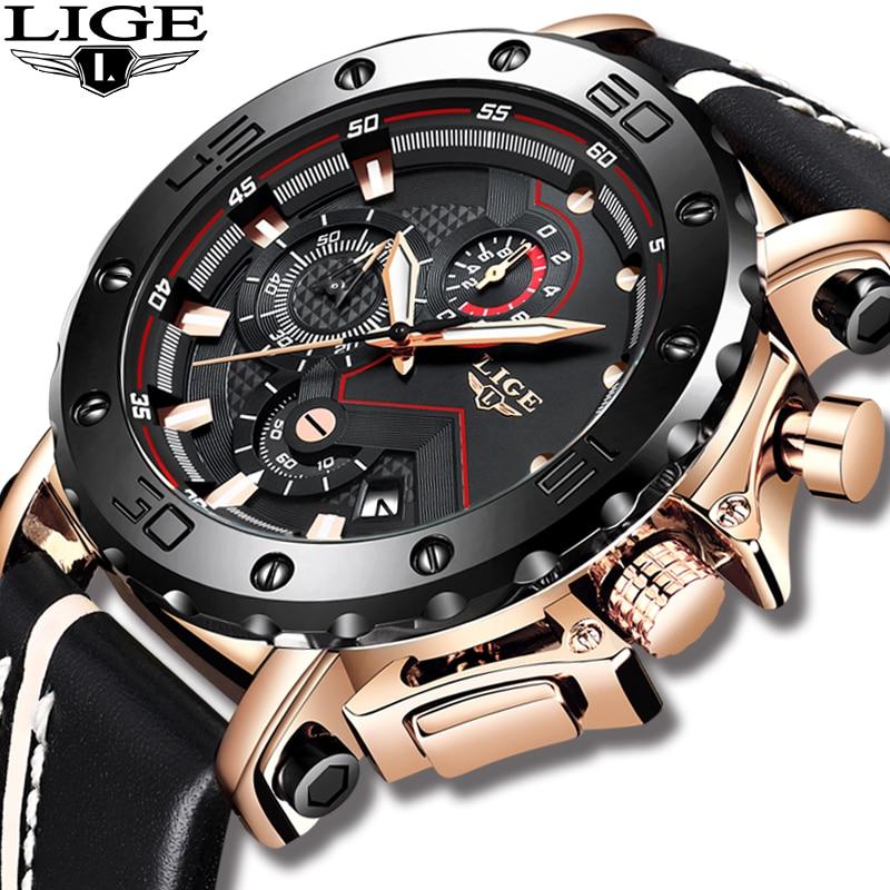 2018 LIGE New Men Top Watch Men Original Stainless Steel case Large Dial Men Casual Leather Business Sport Watch Erkek Kol Saati in Quartz Watches from Watches