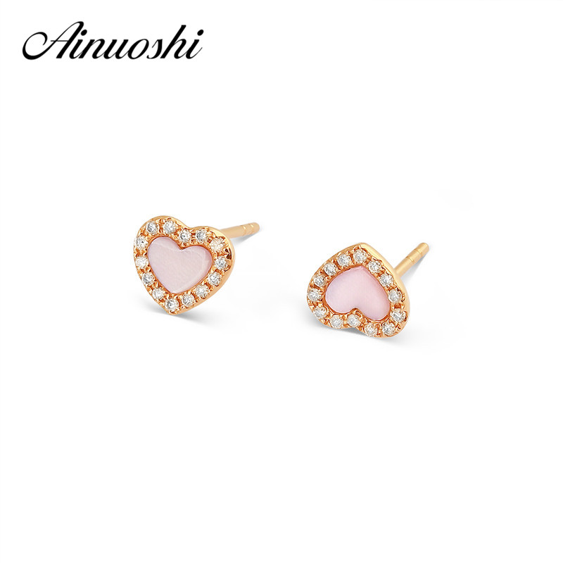 AINUOSHI Cute Mini 18K Rose Gold Stud Earring Pink Onyx Heart Earrings 0.082ct Natural Real Diamond Engagement Jewelry Earrings