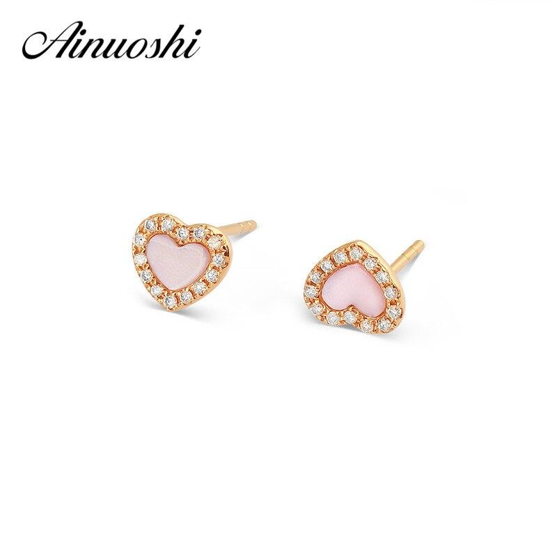 AINUOSHI Cute Mini 18K Rose Gold Stud Earring Pink Onyx Heart Earrings 0 082ct Natural Real