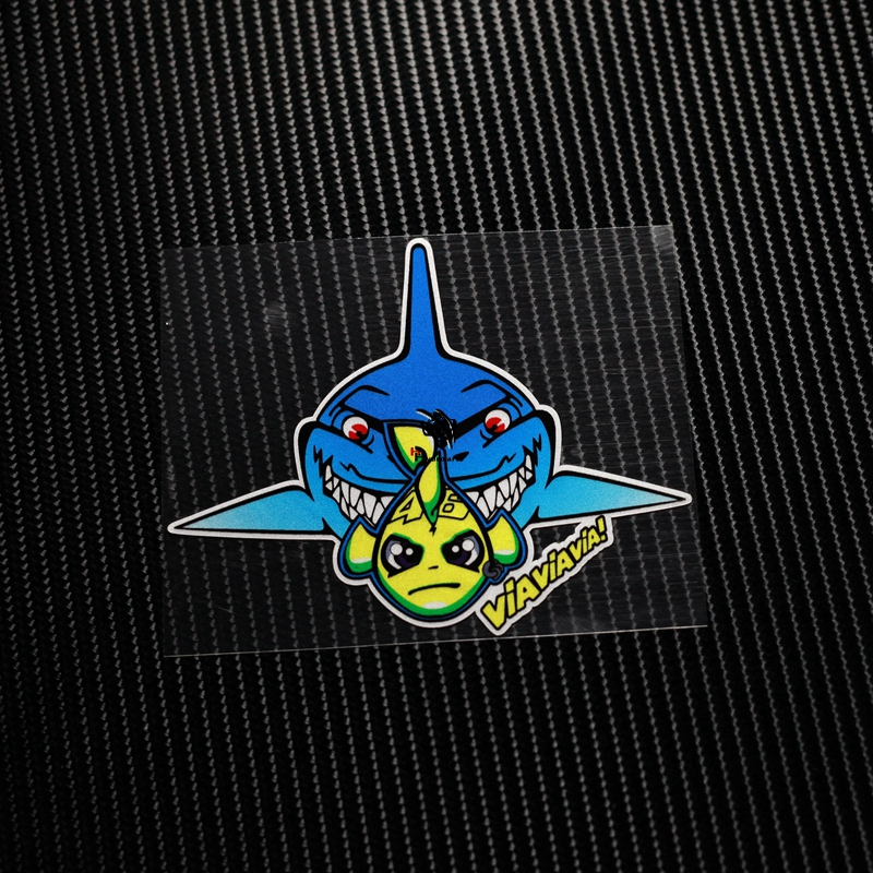 NO.TL025 46# Fish Shark Misano Valentino Rossi Adesivo Reflective Car Sticker Decals Motorcycle Racing Stickers auto ATV Helmet 12cm moto gp racing italy piaggio bee car stickers motorcycle helmet decals auto exterior vinyl