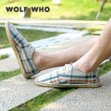 WOLF WHO Summer Men Casual Shoes Breathable Sweat-Absorbant Hemp Male sneakers Concise Soft Leisure men's Loafers Shoes W-023(China)