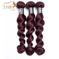 Jsdshine волосы Малайзии свободная волна 3 шт 100% человеческих Химическое наращивание волос 99J бордовый красного цвета волос Weave Связки Бесплатн...