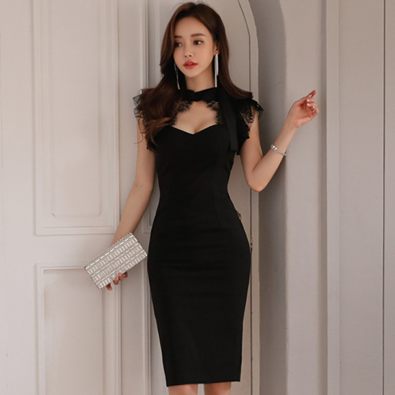 2018 Summer Lace Patchwork Bowknot Hollow Out Women Sexy Cloth Black Knee-Length Pencil Sleeveless Party Dress
