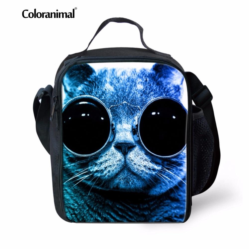 Bags para Crianças Coloranimal Azul Bonito Óculos Gato Adorável Imprimir Escola Lunch Menino Crossbody Bolsa Lancheiras Almoço Térmica Criança
