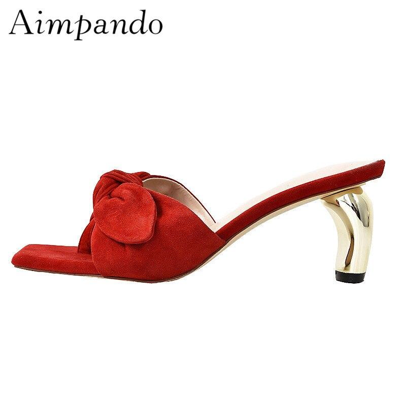 Del Pie Primavera Cuadrado Zapatos Rojo Mariposa Dedo De red Extraño Black Mulas Tacón Gamuza nudo Sexy Bowknot Mujer Calidad Metal Alta Zapatillas xPgvvwO
