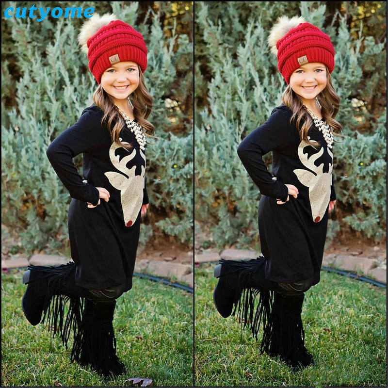 Matching Mother And Daughter Clothes Long Sleeve Dress Christmas Deer Printed Baby Girls Women Dresses Matching Look Outfits (17)