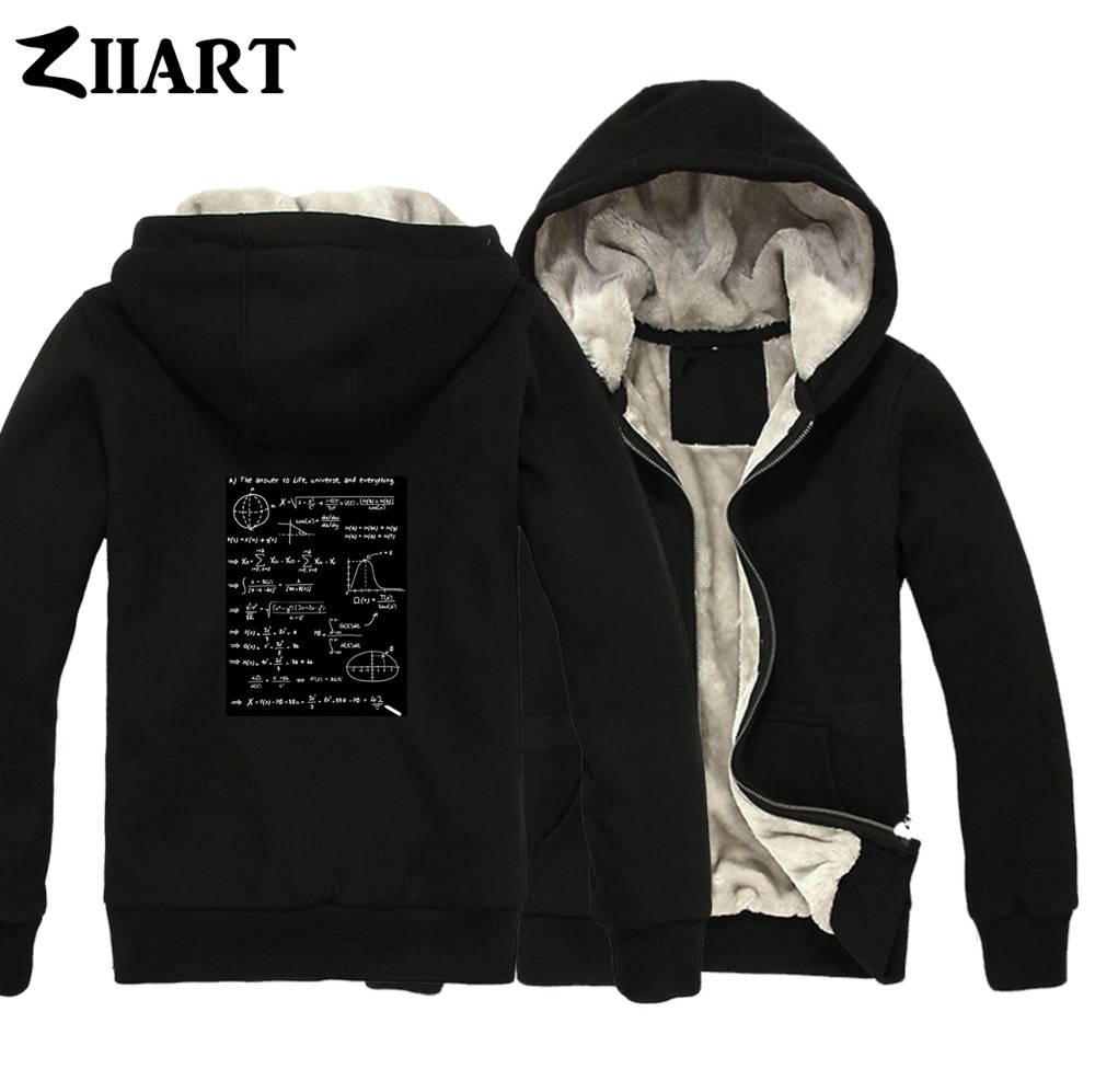 42 AJ the answer to life universe and everything Couple Clothes Boys Man Male Full Zip Autumn Winter Plus Velvet   Parkas   ZIIART