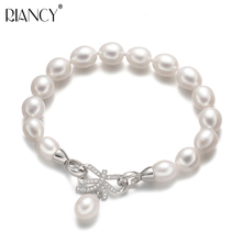 High quality truly Natural freshwater pearl Bracelet Charm Bowknot Jewelry For Women wedding gift