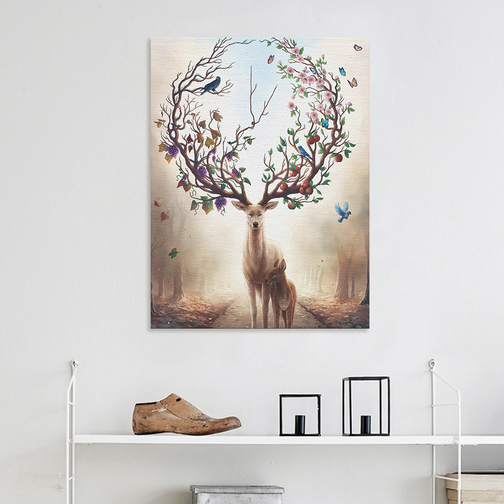 Printing Canvas Us 4 86 51 Off Canvas Prints Wall Art Dream Forest Elk Canvas Printing Art Print Wall Pictures For Living Room Kids Unframed Deer Nordic Poster In