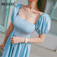 RUGOD 2018 New Summer Holiday Beach Bohemian Style Soild light blue Off the shoulder long High Waist Slash Neck women vestidos