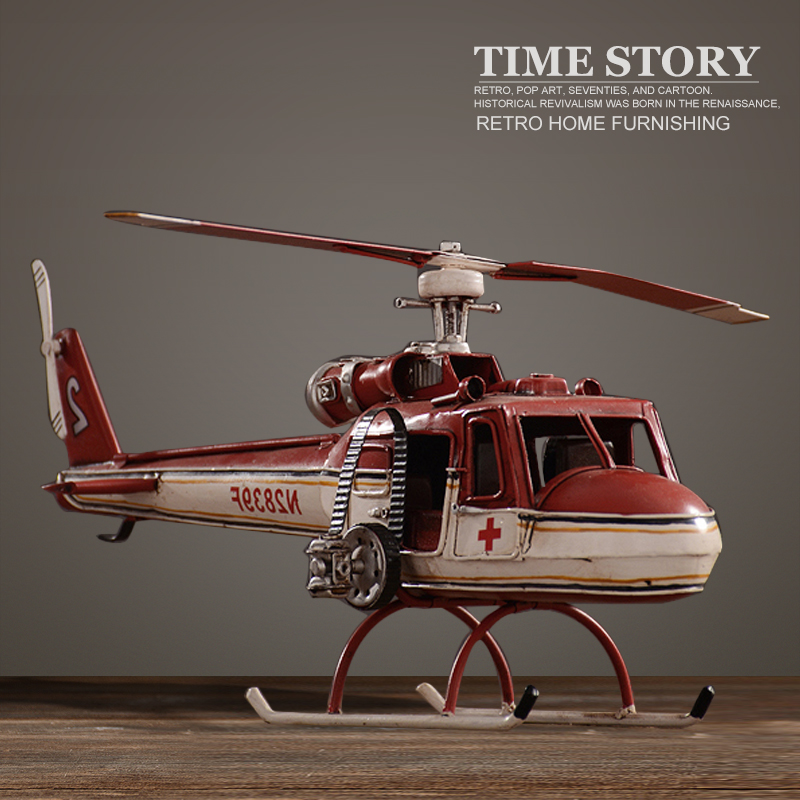 Vintage combat hélicoptère modèle rétro luxe fer art combattants modèle ornement décoration de la maison de salon ou meuble TV