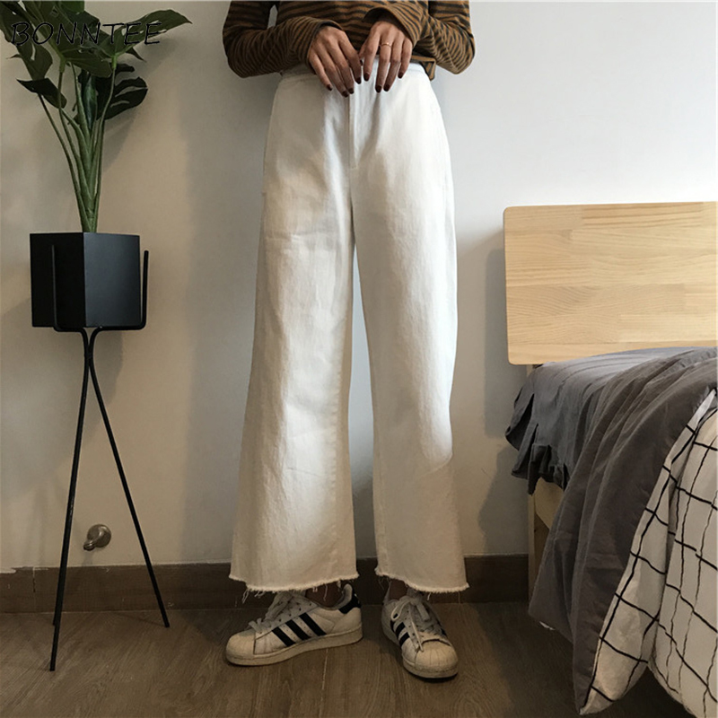Jeans Women Loose Korean Style All-match Solid Denim Trousers Womens High Tassel Straight Ankle-Length Students Clothing Leisure