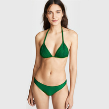 Купить с кэшбэком Summer Brazilian 2019 Bikini Swimwear Women Swimsuit Sexy Push Up Micro Bikinis Set Swimming Bathing Suit Beachwear black&green