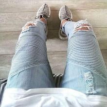 цена HOT 2019 Fashion Casual high Street Hip hop streetwear Ripped Hole BIKER JEANS Locomotive fold jeans stretch pencil pants Men