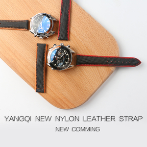 Image 2 - Nylon Mix Leather Canvas Watchband For Omeg a Speed Sea Master AT150 19mm 20mm 21mm 22mm 23mm Watch Strap For Fifty Fathoms