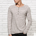 New Men Beckham Shirt 2016 Autumn Stylish Tee Tops Long Sleeve t shirt men Button placket Slim Fit Casual Henley T-shirt men