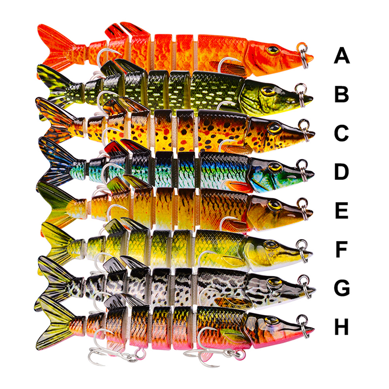8cm/5.2g 8 Sections Pike Swim Fishing Lure Swim Bait Fishing Bait 6# Hook 8 Colors Fishing Tackle