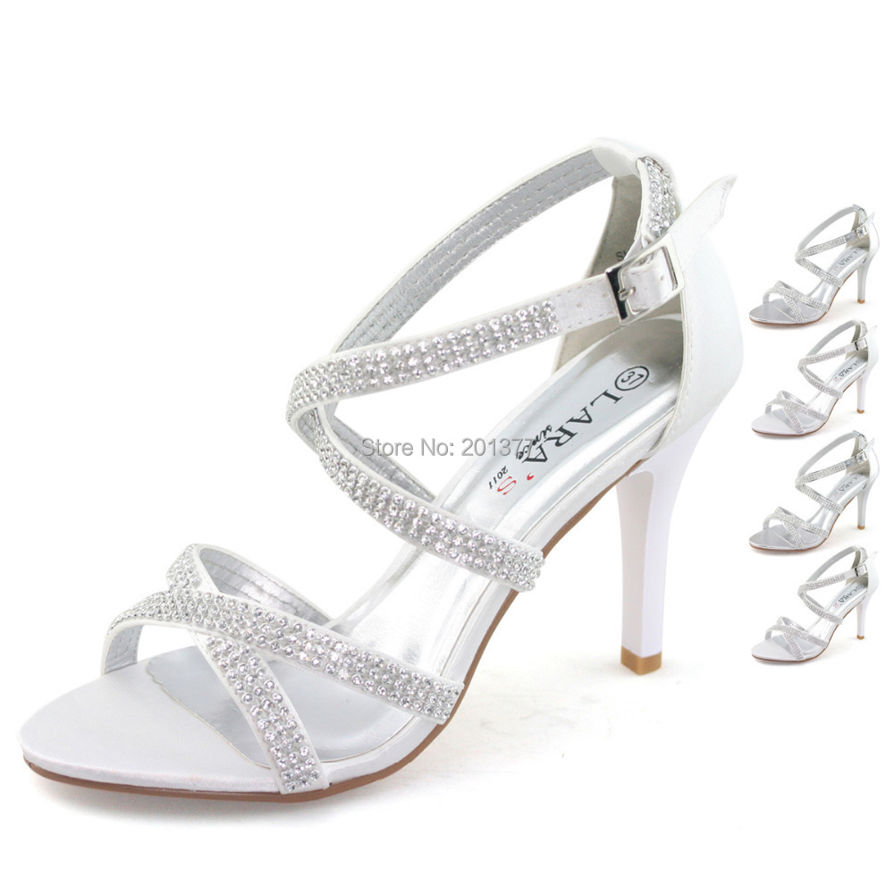 Bridal Shoes Silver: LARAs Brand Silver White Wedding Shoes For Women Ladies