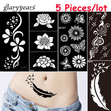 5 stycken / mycket Medium Henna Stencil DIY Klistra Hollow Draw Flower Blonde Design Henna Body Art Paint Tattoo Stencil Julklapp
