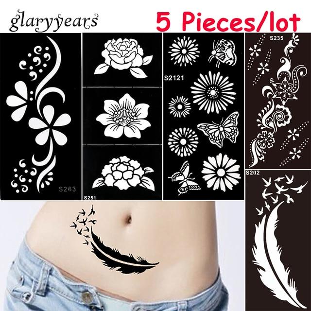 5 Pieces Lot Medium Henna Stencil Diy Paste Hollow Drawing Flower
