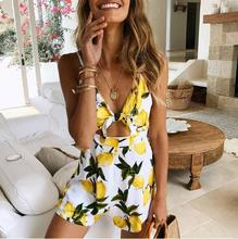 Summer Beach Sexy Women Short Playsuits Rompers Bohemian Floral Print Plunge Spaghetti Strap Jumpsuits
