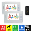 7 inch touch key video door phone doorbell intercom system Home Safety system 1 camera 2 monitors doorphone rain cover