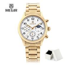 Megir мода из нержавеющей стали кварцевые часы человек роскошные водонепроницаемый хронограф наручные спорт мужчины relogios masculinos 5007