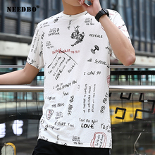 NEEDBO Men Tshirt Oversized Streetwear Casual Print T Shirt 8xl Camisetas Hombre Short Sleeve Cotton T-shirt