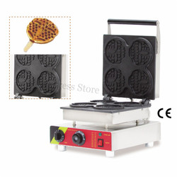 Nonstick Electric Round Lolly Waffle Machine Stainless Steel Waffle Baker Maker with Timer and Temperature Controller