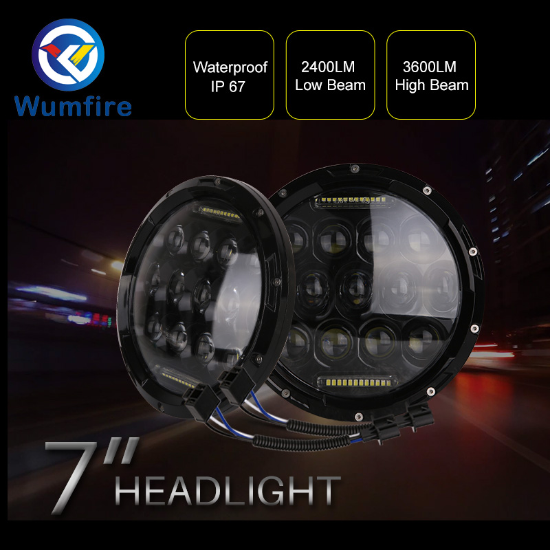 7 Led Headlight Kit 75w 35w H4 H13 Hi-Lo Beam The Daytime Running Light for Jeep Wrangler JK TJ Lada Niva 4x4 4wd 2pcs 7inch 85w 75w cree led headlight for truck offroad with hi lo beam replacement kit for motorcycle jeep wrangler
