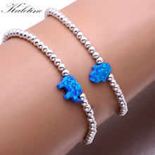 KALETINE Luxury Elastic String Synthetic Opal Hamsa Hand of Fatima Elephant 925 Sterling Silver Bead Bracelets For Women Men