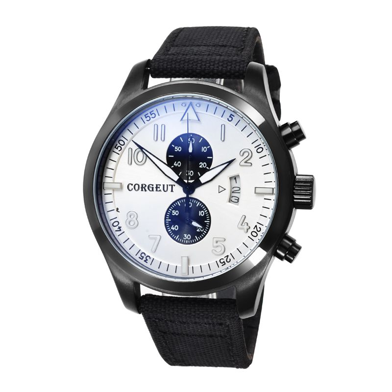 Corgeut 46mm  black dial PVD Case mixed strap of the cloth and leather Full Chronograph Mens quartz water resistant wristwatches corgeut 44mm wristwatches rose gold case white dial coffee leather strap hand winding 6498 water resistant men watches cm2005b