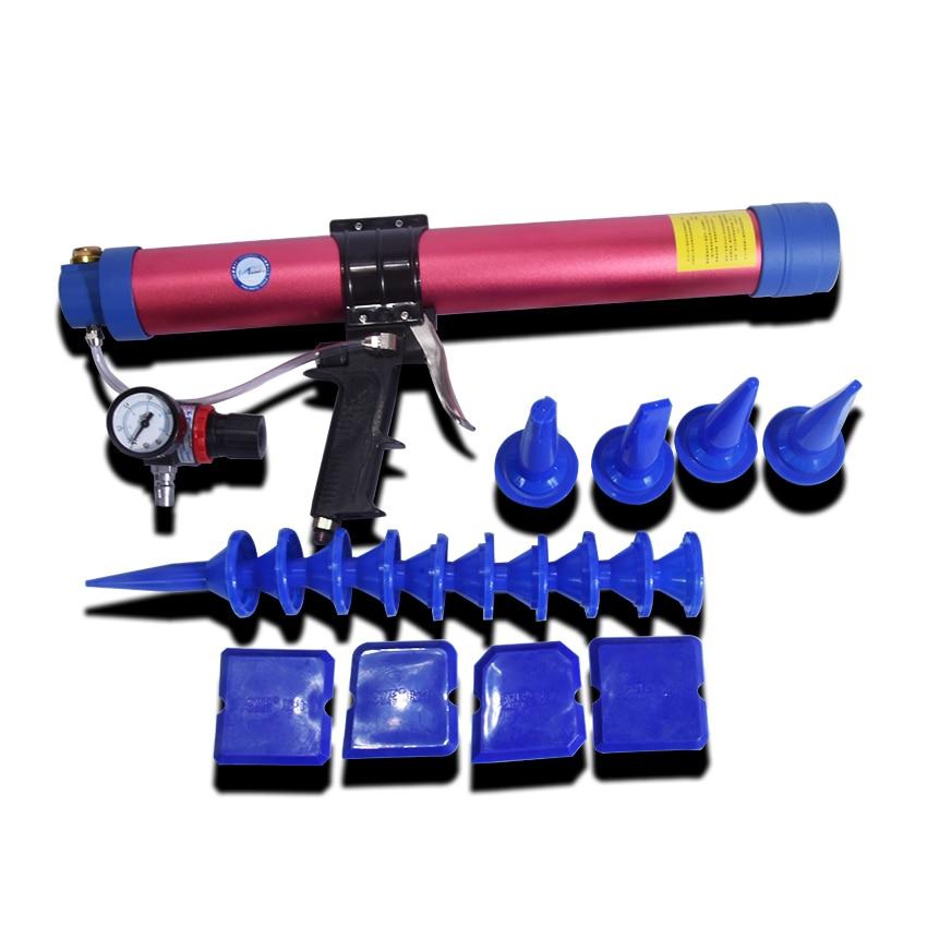High Quality 600ml Pneumatic Sausage Cullet Gun Adjustable Speed Pneumatic Glass Glue Gun Rubber Gun Works For 350mm Soft Glue