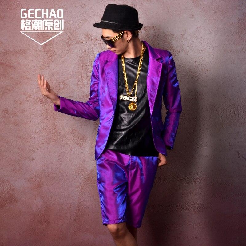 Aliexpress.com  Comprar Hombres púrpura Shine Casual Trajes (chaqueta + pantalones  cortos) por encargo moda masculina Hip Hop Slim Fit Blazer cantante ... 150ed9b2c37